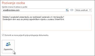 Zajedničko korištenje prezentacije u sustavu SharePoint