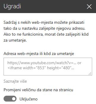 Snimka zaslona koja prikazuje dijaloški okvir Kod za umetanje u sustavu SharePoint.