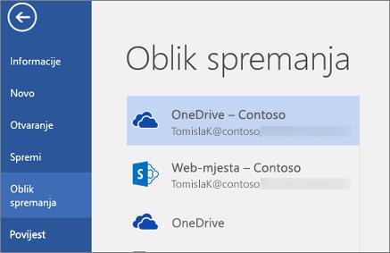 Spremanje dokumenta programa Word na servis OneDrive za tvrtke