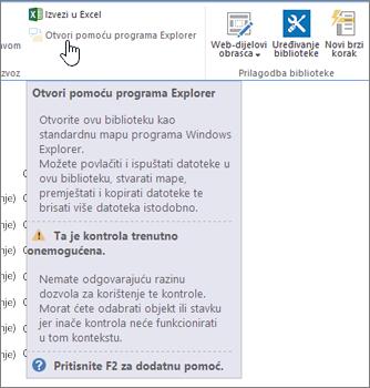 Otvori pomoću programa Explorer mogućnost odabrana, ali ne omogućena.