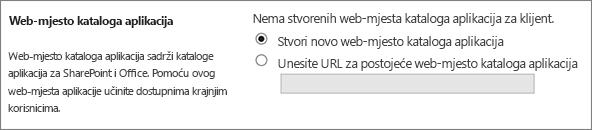 Aplikacija dijaloški okvir web-mjesta kataloga s Stvori novu aplikaciju kataloga odabrana web-mjesta.