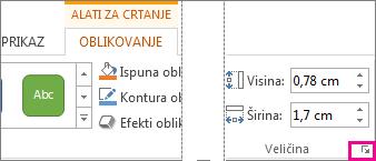 pokretač dijaloškog okvira u grupi veličina na kartici alati za crtanje – oblik