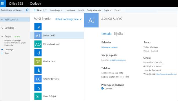 Kada uvezete kontakte, evo kako izgledaju u programu Outlook na webu.