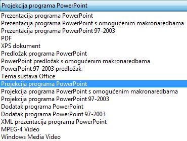 Spremite prezentaciju kao dijaprojekciju programa PowerPoint.
