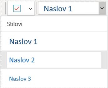 Popis naslova u aplikaciji OneNote za Windows 10