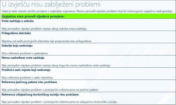 rezultati provjere stanja zbirke web-mjesta