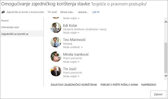 Snimka zaslona s karticom Zajednički se koristi s u dijaloškom okviru Zajedničko korištenje