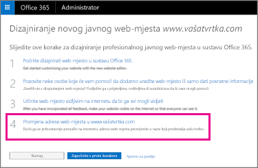 Na stranici Dizajn novog javnog web-mjesta odaberite 4. korak