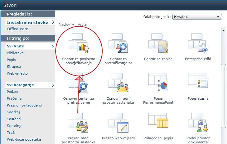 Galerija Stvaranje web-mjesta sadrži mnoge ugrađene predloške web-mjesta.