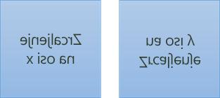 Primjer zrcaljenja teksta: prvi je zakrenut 180 stupnjeva na osi x, a drugi je zakrenut 180 stupnjeva na osi y