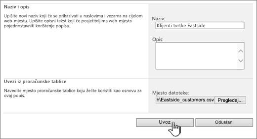 Stvaranje dijaloga za uvoz proračunske tablice s uvozom istaknuta