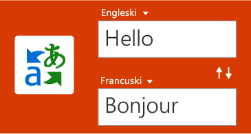 Gumb za prijevod i jedna riječ na engleskom uz njezin prijevod na francuski
