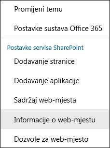 Snimka zaslona s prikazom mogućnosti izbornika Informacije o web-mjestu sustava SharePoint.