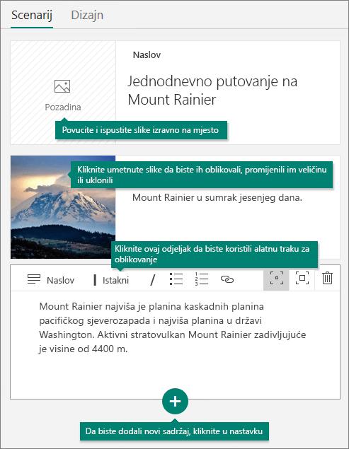 Kartica Priča u aplikaciji Sway.