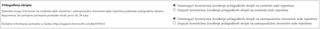 Odjeljak za prilagođene skripte na stranici s postavkama u centru za administratore sustava SharePoint