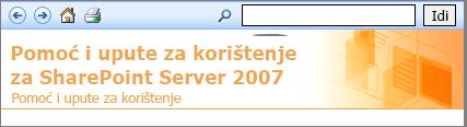 Zaglavlje okna pomoći sustava SharePoint 2007