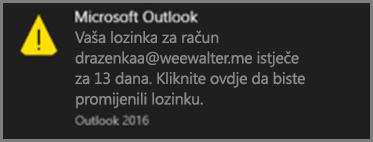 Slika obavijesti koja se korisniku prikazuje neposredno prije isteka lozinke.