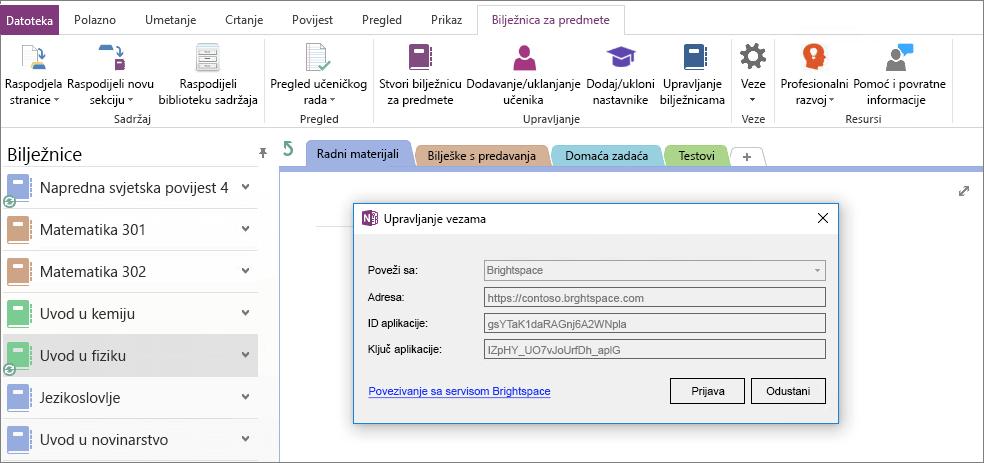 Snimka dijaloškog okvira veze dodatka za bilježnice za predmete s omogućena pravila grupe.