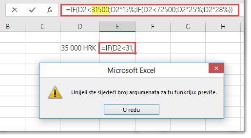 Poruka programa Excel prilikom dodavanja zareza u vrijednost