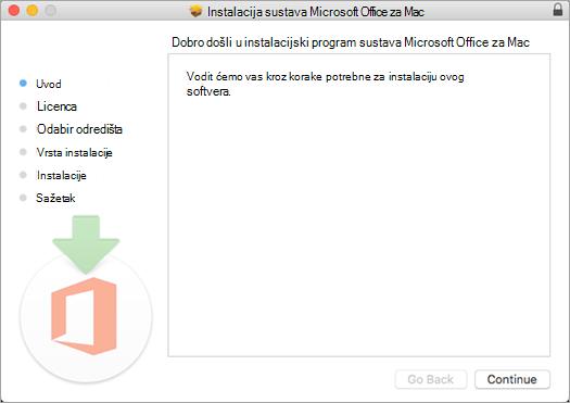 """Prvi zaslon za instalaciju aplikacije za Mac 2016 s istaknutim """"Nastavi"""""""