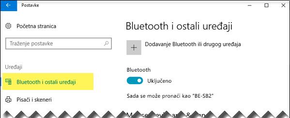 Provjerite je li na lijevoj strani odabrana mogućnost Bluetooth i drugi uređaji
