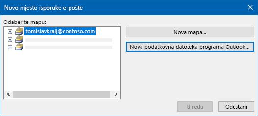 Dijaloški okvir mjesto isporuke e-pošte programa Outlook