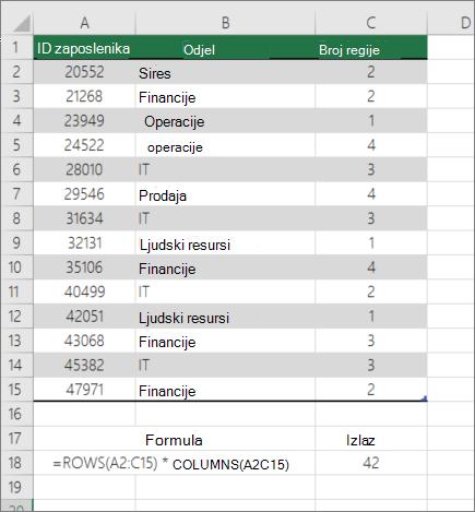 Primjer funkcije ROWS i COLUMNS za brojanje broja ćelija u rasponu