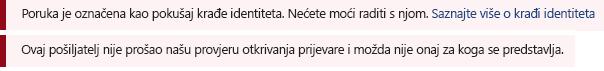 Snimka zaslona trake crvena sigurnost poruke u programu Outlook.