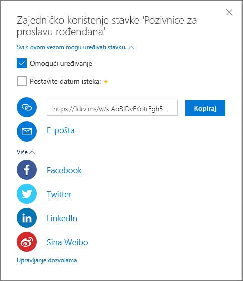 Sve mogućnosti zajedničkog korištenja na servisu OneDrive