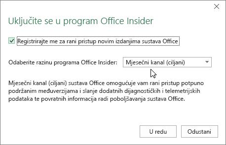 Dijaloški okvir Uključite se u program Office uz mogućnost Mjesečni kanal (ciljani)