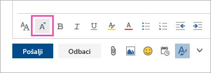 Snimka zaslona na kojoj se prikazuje gumb Veličina fonta