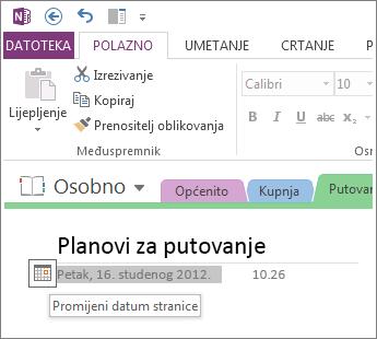 Promjena datuma stvaranja stranice.