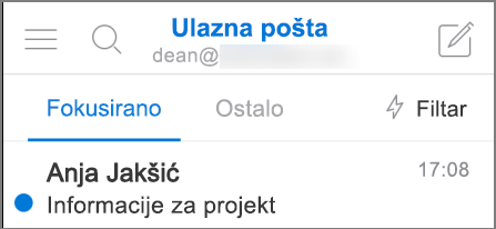 Slika izgleda programa Outlook na uređaju iPhone.