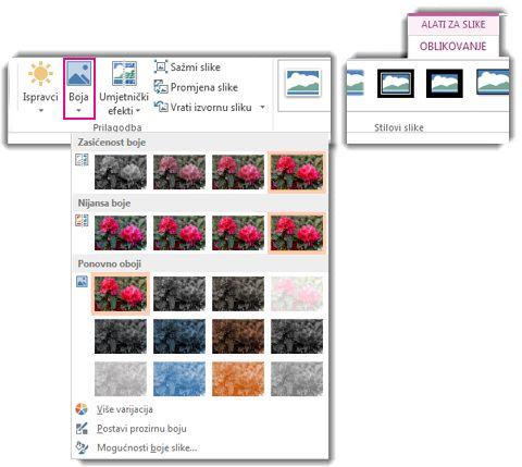 Izbornik gumba Boja otvoren na kartici Oblikovanje alata za slike