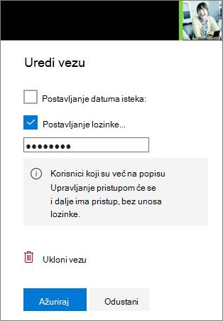 Snimka zaslona s uredite postavke veze