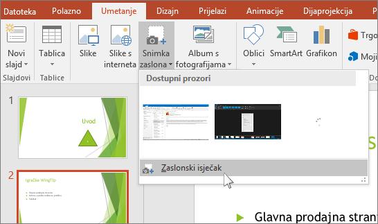 zaslonski isječak padajućeg izbornika u programu powerpoint