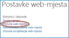 Snimka zaslona sa skupom mogućnosti na stranici Postavke web-mjesta u kojem se prikazuje veza Osobe i grupe