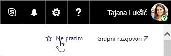 Snimka zaslona s gumbom prati na web-mjestu sustava SharePoint.