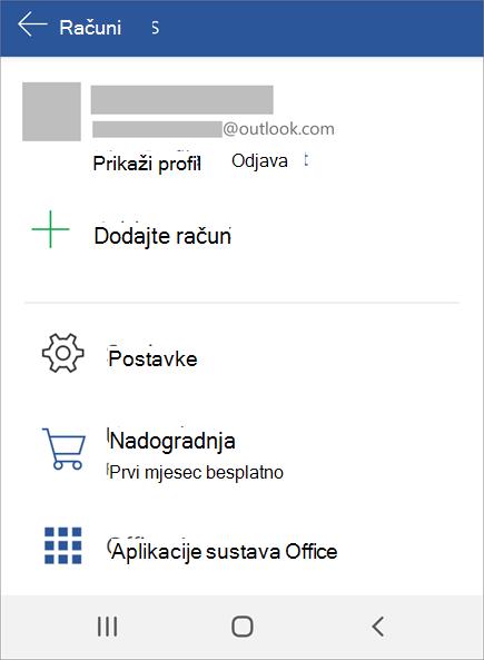 Prikazuje mogućnost odjave iz sustava Office na uređaju Android