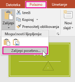 show paste special option