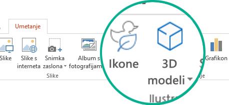 Gumbi za mogućnosti Ikone i 3D modeli na kartici Umetanje na vrpci alatne trake u sustavu Office 365