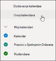Snimka zaslona s gumbom za otkrivanje kalendara