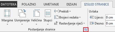 Na kartici RASPORED STRANICE ikonom Postavljanje stranice u donjem desnom kutu otvara se prozor Postavljanje stranice.