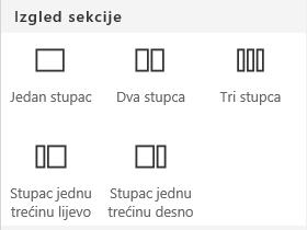 Snimka zaslona koja prikazuje izbornik Izgled sekcije u sustavu SharePoint.