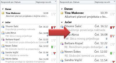 slika povećavanja veličine fonta popisa poruka
