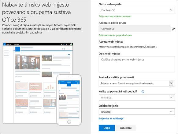 Stvaranje timskog web-mjesta sustava SharePoint