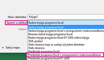 Odaberite predložak s omogućenim makronaredbama programa Excel.