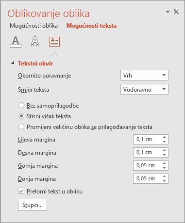 Prikazuje okno Oblikovanje oblika > Mogućnosti teksta u programu PowerPoint