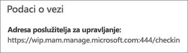 Na stranici Upravitelj prikazuje se URL s informacijama o vezi koje uključuju izraze mam i wpi.