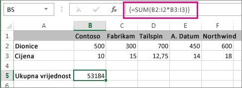 Primjer formule polja